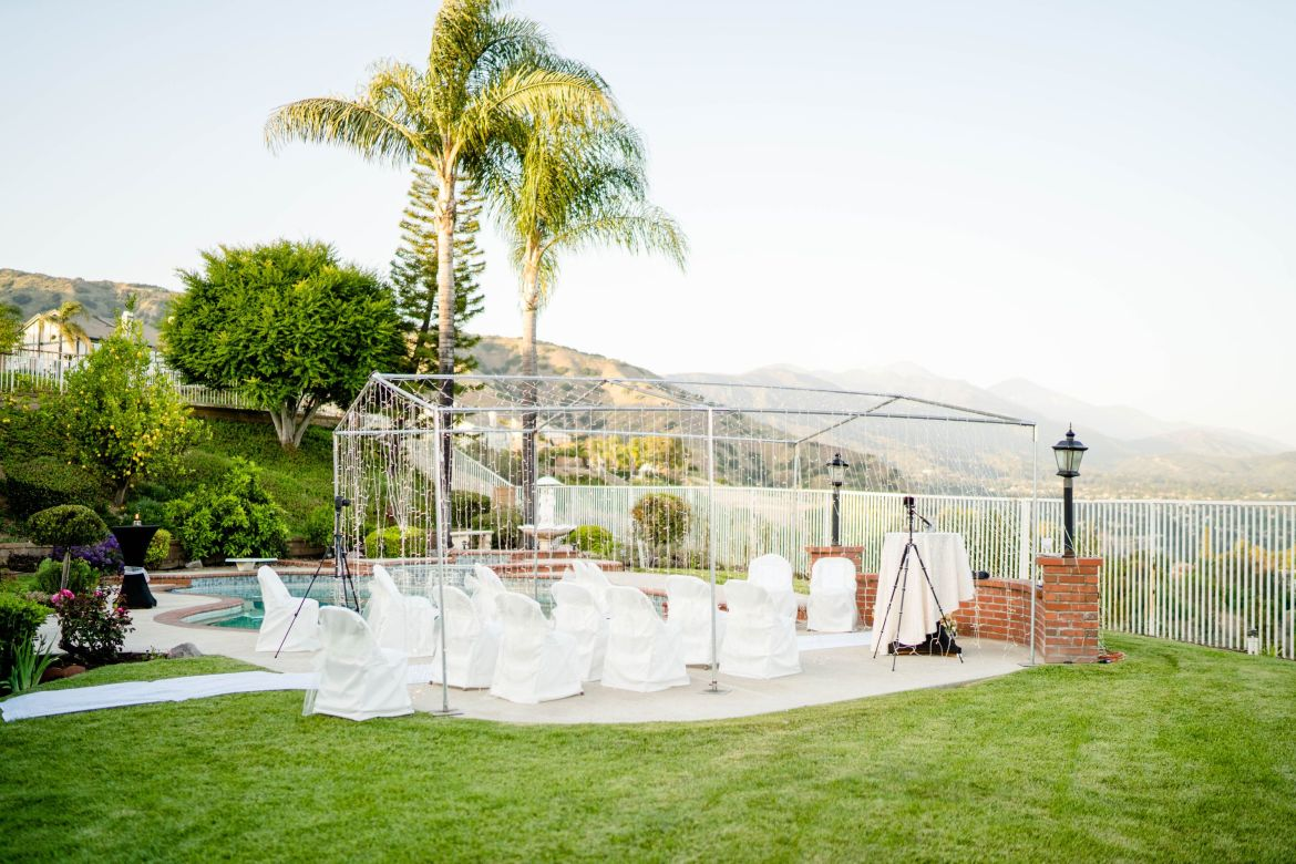 backyard wedding ceremony space DIY