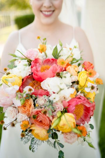 coral wedding bouquet san dimas