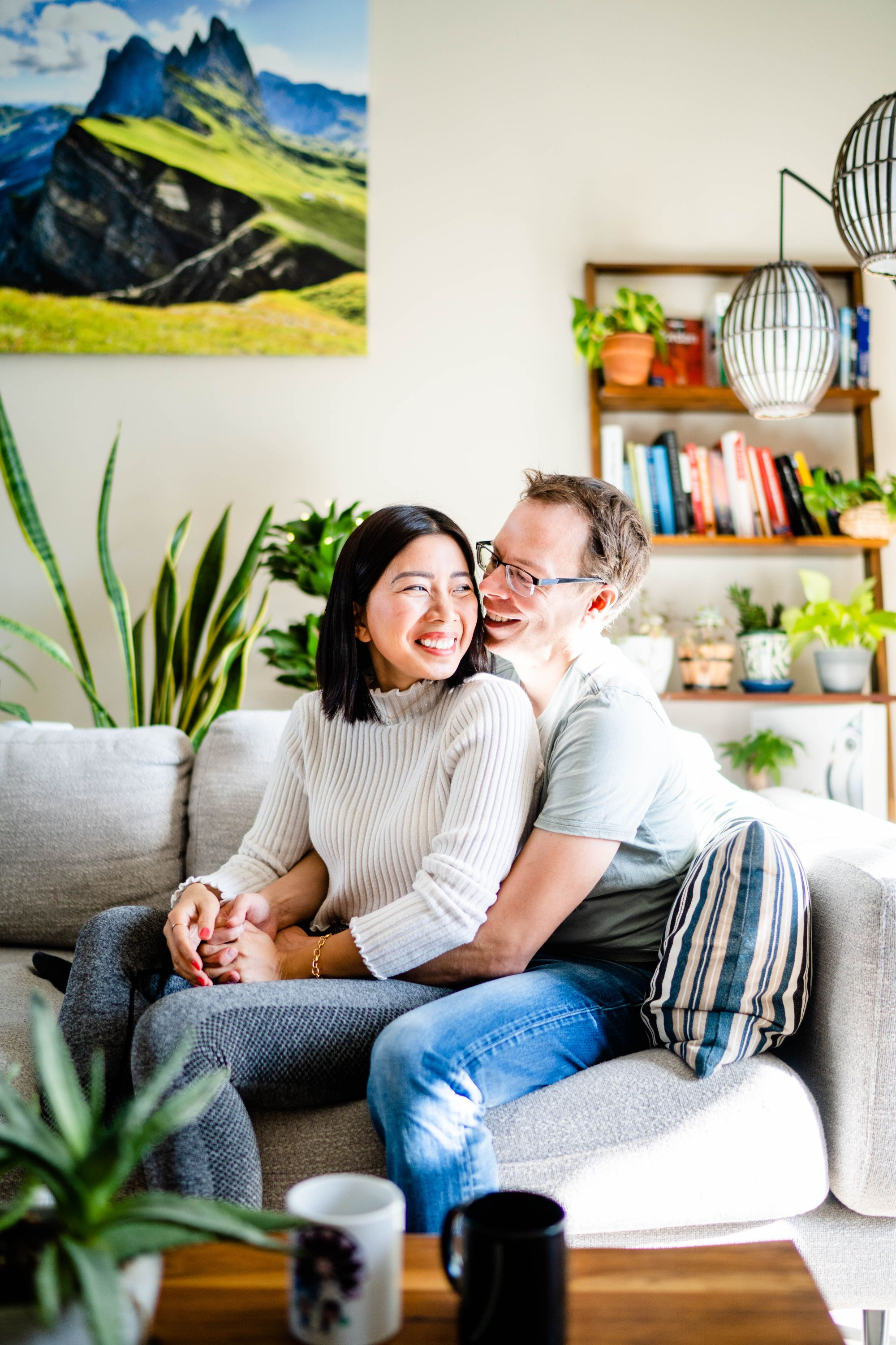 at home engagement photos with plants