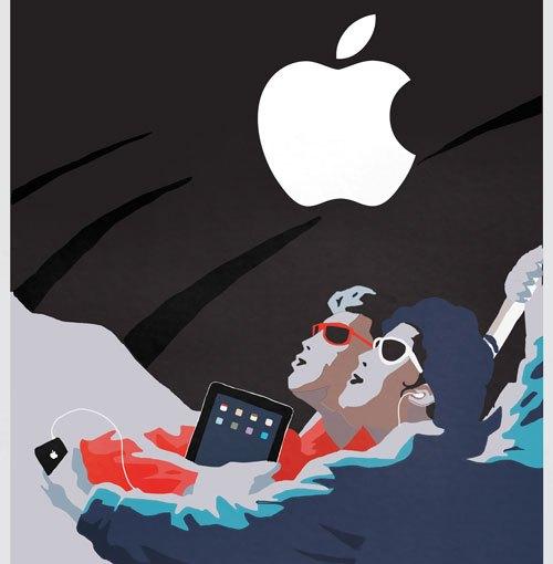 全体主義風ツイッター/フェイスブック/アップル ポスター
