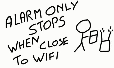 WiFiルーターに近づかないと止まらない目覚ましAndroidアプリ