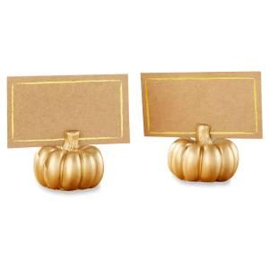 12ct Kate Aspen Gold Pumpkin Place Card Holder