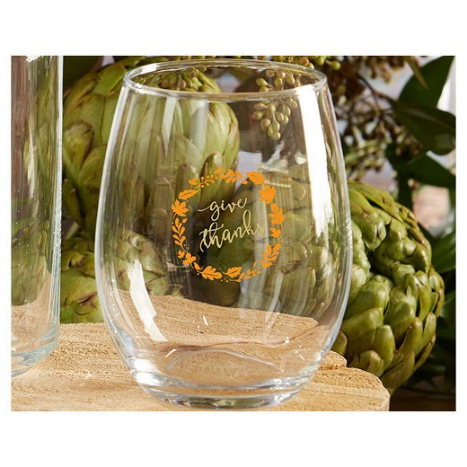 4ct Kate Aspen Give Thanks Stemless Wine Glass