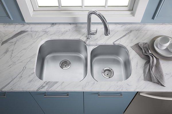 Kohler Sink K 3356 HCF installed - KOHLER Sink K-3356-HCF-NA Preserve Double Bowl