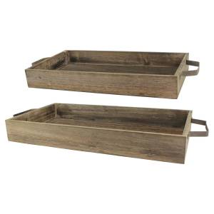 Stonebriar Industrial Wood Trays