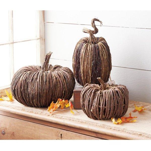 large pumpkin - Large Reed Pumpkin Table Sitter Décor