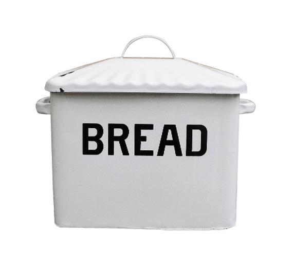 Farmhouse Kitchen Decor on a budget Creative Co-op Enameled Metal Bread Box, White