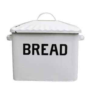 Farmhouse Kitchen Decor on a budget Creative Co-op Enameled Metal Bread Box, White