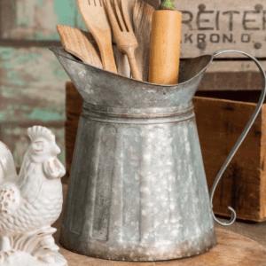 Farmhouse Kitchen Deocr galvanized Metal Milk Pitcher