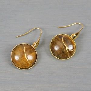 Tiger eye kintsugi earrings on gold plated ear wires