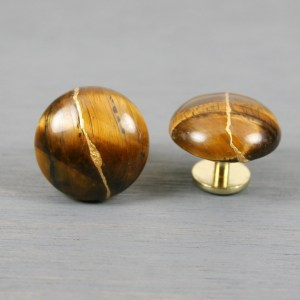 Tiger eye cuff links with kintsugi repair on round stud backs