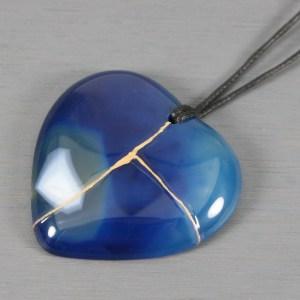 Blue agate kintsugi heart pendant on black cotton cord