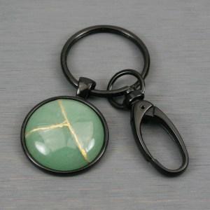 Green aventurine kintsugi key chain with black swivel lobster claw