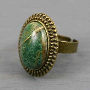 African jade kintsugi ring in an antiqued brass adjustable setting