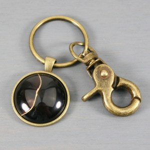Black agate kintsugi key chain with antiqued brass swivel lobster claw