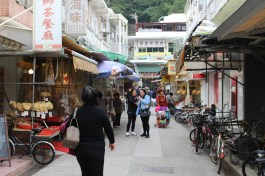 A street with vendors.