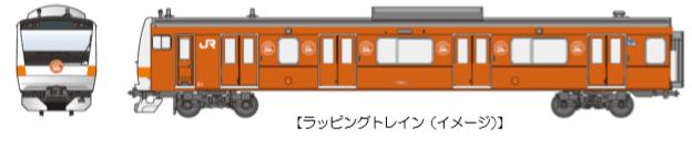 e233 wrapping - 中央線開業130周年記念でラッピング電車運行
