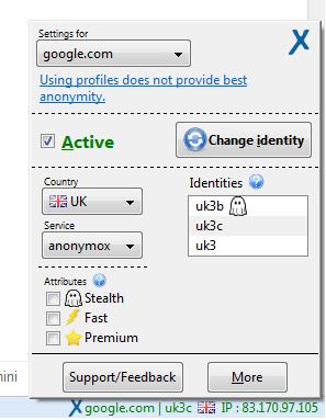 La barra dei componenti aggiuntivi con le impostazioni di AnonymouX