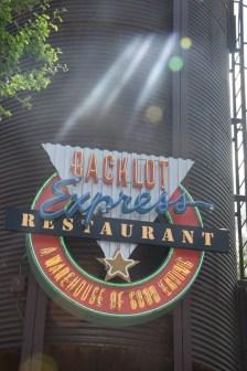 Backlot Express Restaurant sign