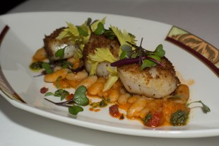 Grilled Sea Scallops with Borlotti Beans and Pancetta