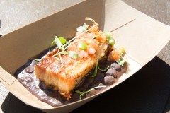 Crispy Pork Belly with Black Beans, Tomato and Cilantro