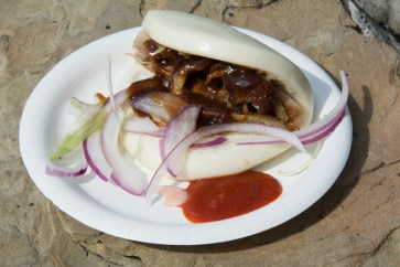 Beijing Roasted Duck in a Steamed Bun with Hoisin Sauce