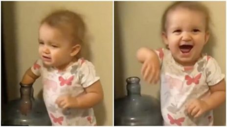 Little girl pranks family by putting hand in water jug. Oscar-worthy acting, says Twitter