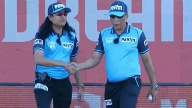 Umpire Paschim Pathak (Left) in the match between KKR and SRH on Sunday