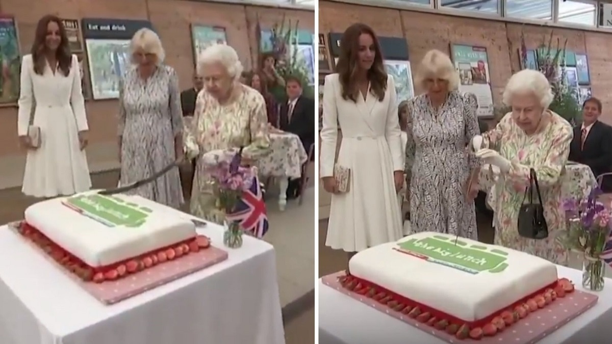 Queen Elizabeth Cuts Cake With Ceremonial Sword At Event Viral Video Lifestyle News