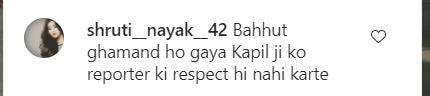 A user comment on a photo of Kapil Sharma sitting in a wheelchair.