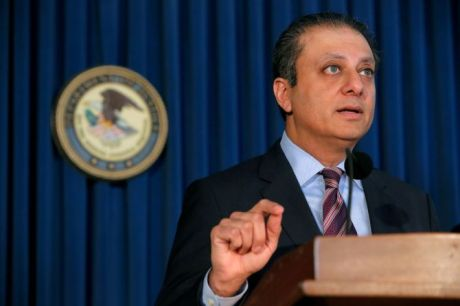 U.S. Attorney for the Southern District of New York Preet Bharara speaks during a news conference regarding the arrests of former Valeant Pharmaceuticals Inc. executive Gary Tanner and former Chief Executive Officer of Philidor Rx Services LLC Andrew Davenport for allegedly engaging in a multi-million dollar fraud and kickback scheme in Manhattan, New York, U.S., November 17, 2016. REUTERS/Andrew Kelly - RTX2U5YO