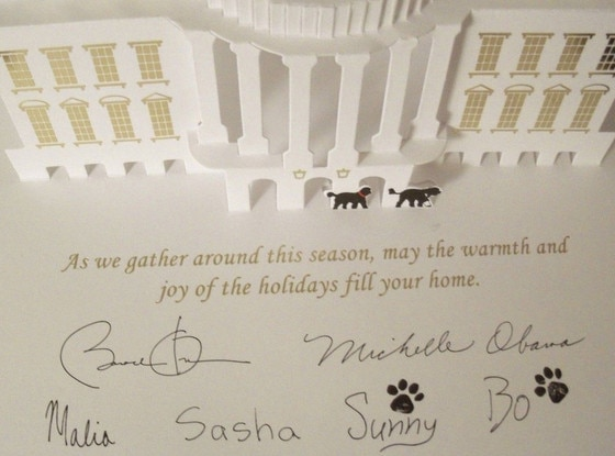 2013 White House Holiday Card The Obamas Dogs Sunny And