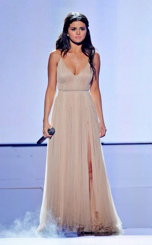 Selena Gomez Champagne Deep V-Neck Prom Dress