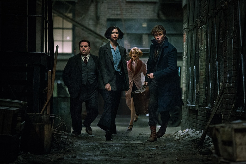 (From left): Jacob, Tina, Queenie, and Newt