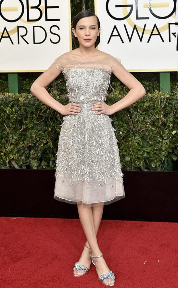 2017 Golden Globes Red Carpet Arrivals Millie Bobby Brown, 2017 Golden Globes, Arrivals