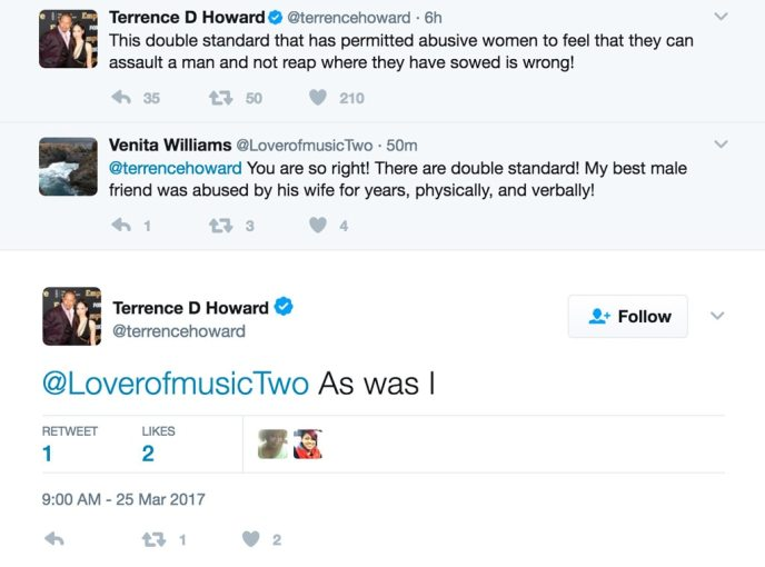 Terrence Howard, Domestic Violence Twitter