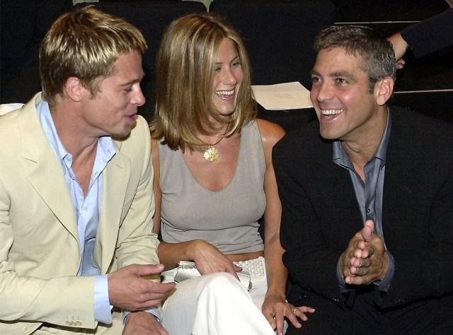Brad Pitt, Jennifer Aniston, George Clooney, Milan, 2001
