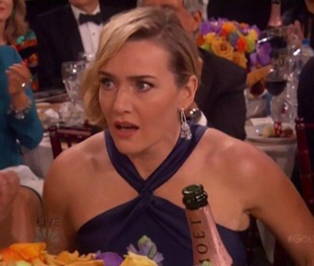 Kate Winslet 2016 Golden Globes Shocked