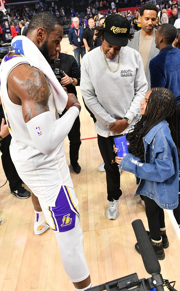 LeBron James, Jay-Z, Blue Ivy Carter, Lakers Game