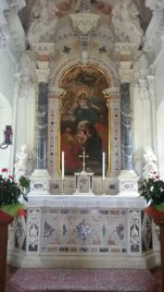 A photo of the altar and art in the San Antonio Church, Aquileia, Italy. Photo taken by Trina Otero with Samsung Galaxy Note 2.