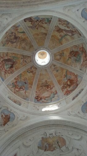 The ceiling in the San Antonio Church, Aquileia, Italy. Photo taken by Trina Otero with Samsung Galaxy Note 2.