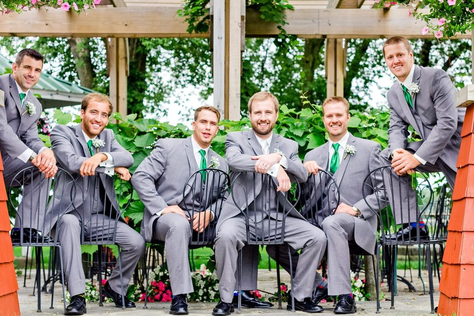 Groomsmen in Grey Suits and Green Ties