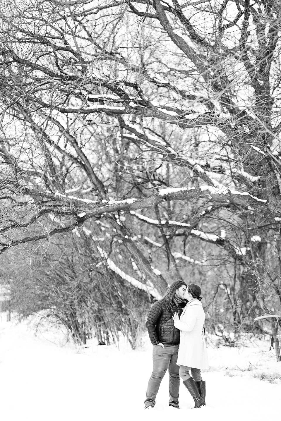 Black and White winter engagement photos in MB Johnson Park