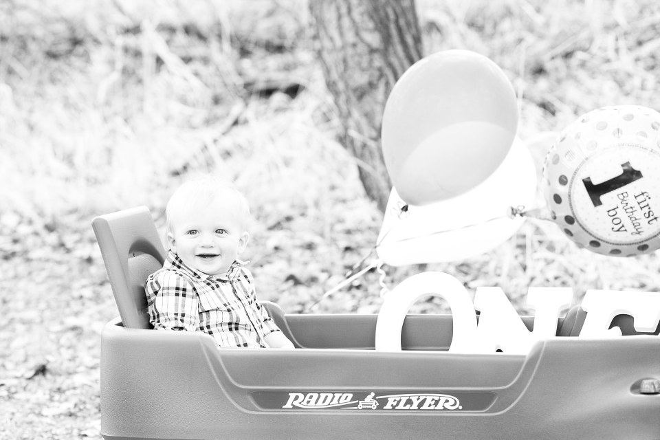 A First Birthday boy sits in his radio flyer wagon with birthday balloons