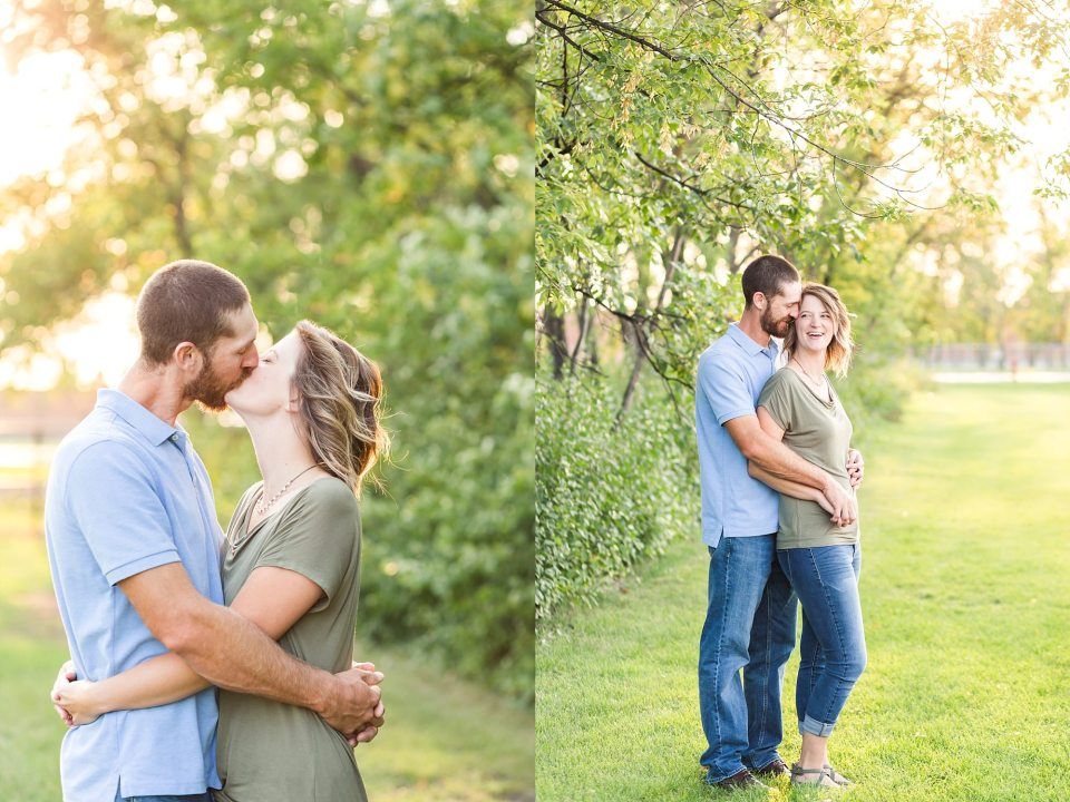 Engaged couple laugh at the North Fargo Dog Park