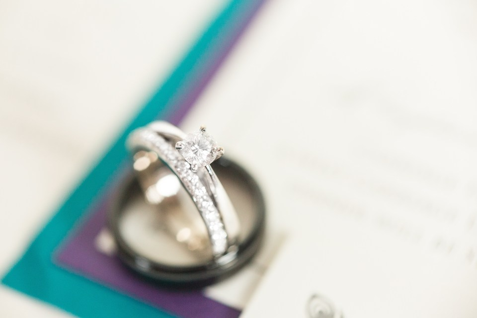 Detail shot of wedding bands on blue and purple wedding invites