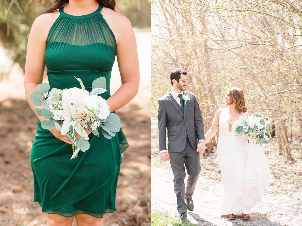 Emerald green halter top bridesmaid dresses with white flower bouquet