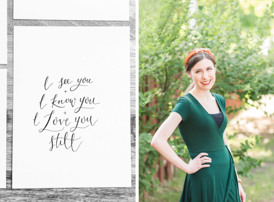 Fargo Wedding Calligrapher poses in a green dress and orange headband outside