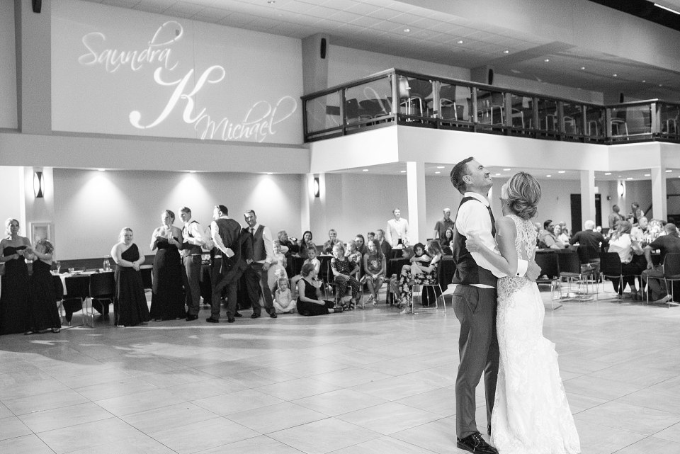 A bride and groom during their first dance at the Avalon