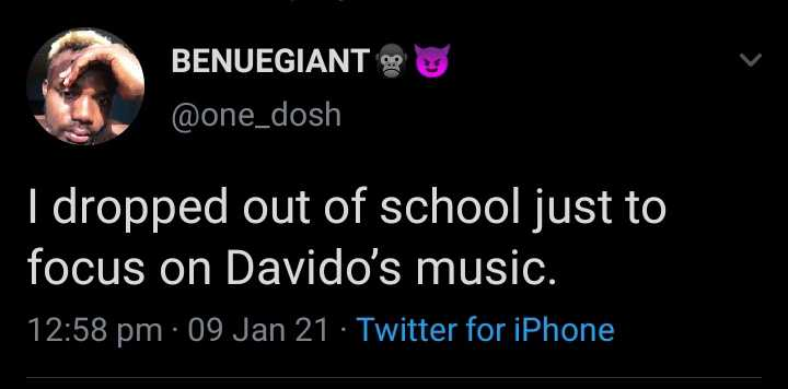 I dropped out of school just to focus on Davido's music - Man says sparks reactions online
